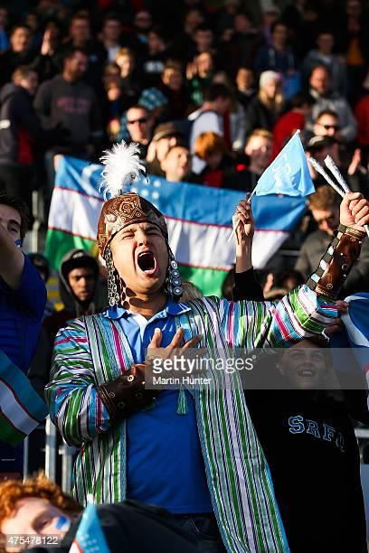 Uzbekistan fans show their support during the Group E Group E FIFA U20 World Cup New Zealand 2015 match between Uzbekistan and Honduras at AMI...