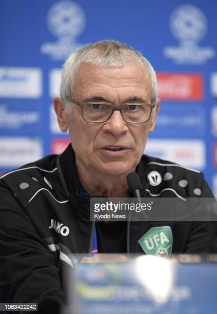 Uzbekistan football manager Hector Cuper speaks at a press conference in Al Ain United Arab Emirates on Jan 16 a day before his team's Asian Cup...