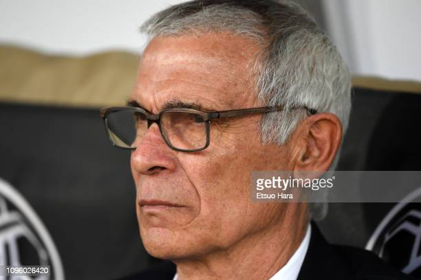 Uzbekistan head coach Cuper Hector Raul of Argentina looks on prior to the AFC Asian Cup Group F match between Japan and Uzbekistsn at Khalifa Bin...