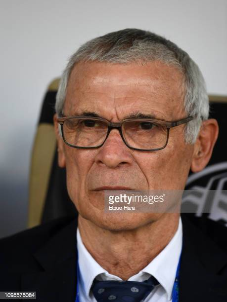 Uzbekistan head coach Hector Cuper looks on prior to the AFC Asian Cup Group F match between Japan and Uzbekistsn at Khalifa Bin Zayed Stadium on...