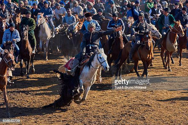 uzbekistan, kachkadaria, buzkashi game - traditional sport stock photos and pictures