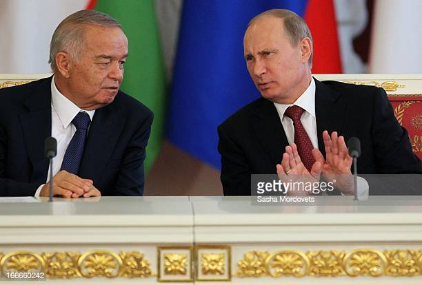 Uzbekistan President Islam Karimov and Russian President Vladimir Putin hold a press conference during their meeting in the Kremlin on April 15 2013...