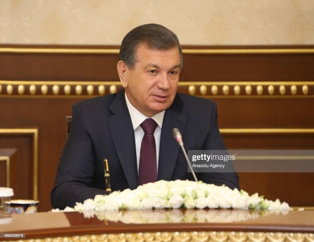 Uzbekistan President Shavkat Mirziyoyev meets Tugrul Turkes and Nihat Zeybekci : News Photo
