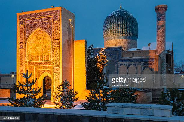 uzbekistan, samarkand, gur amir mausoleum - mausoleum stock-fotos und bilder