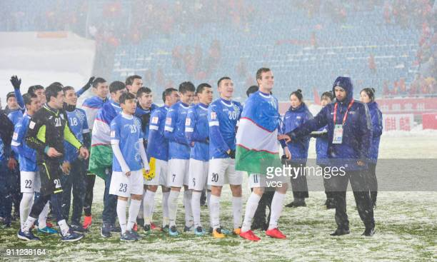 Uzbekistan team attend the award ceremony as they win the champion of 2018 AFC U23 Championship at Changzhou Olympic Sports Center on January 27 2018...