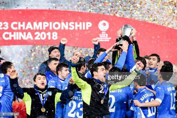 Uzbekistan team celebrate during the award ceremony as they win the champion of 2018 AFC U23 Championship at Changzhou Olympic Sports Center on...