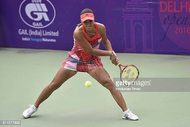 Uzbekistani Tennis player Sabina Sharipova in action against Indian Tennis player Ankita Raina during the Delhi Open 2016 at DLTA on February 19 2016...