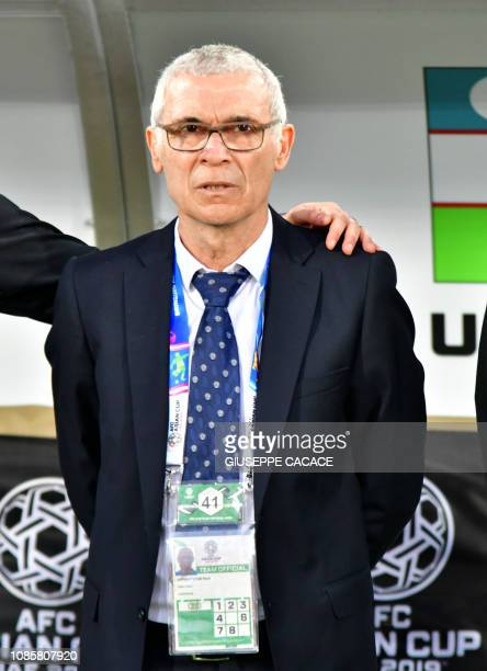 Uzbekistan's coach Hector Raul Cuper looks on during the 2019 AFC Asian Cup Round of 16 football match between Australia and Uzbekistan at the...