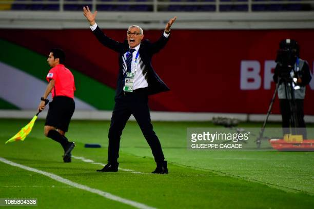 Uzbekistan's coach Hector Raul Cuper reacts during the 2019 AFC Asian Cup Round of 16 football match between Australia and Uzbekistan at the Khalifa...