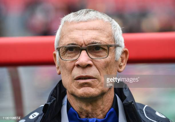 Uzbekistan's head coach Hector Raul Cuper looks on during the 2019 China Cup third place playoff football match between China and Uzbekistan in...