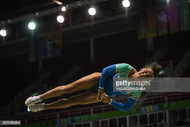 Uzbekistan's Oksana Chusovitina competes during the artistic gymnastics test event Women's Vault final for the Rio 2016 Olympic games at the Rio...