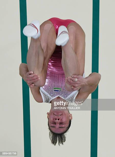 Uzbekistan's Oksana Chusovitina competes in the women's vault event final of the Artistic Gymnastics at the Olympic Arena during the Rio 2016 Olympic...