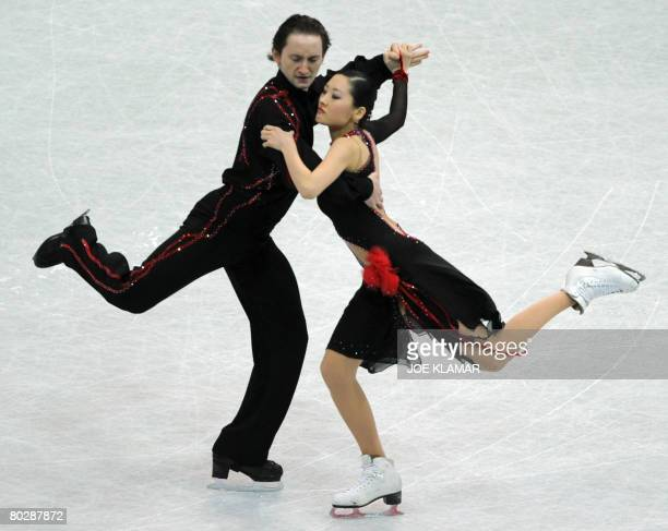 Uzbekistan's Sun Hye Yu and Ramil Sarkulov perform their ice dancing compulsory dance at the Scandinavium arena in Gothenburg on March 18 during the...