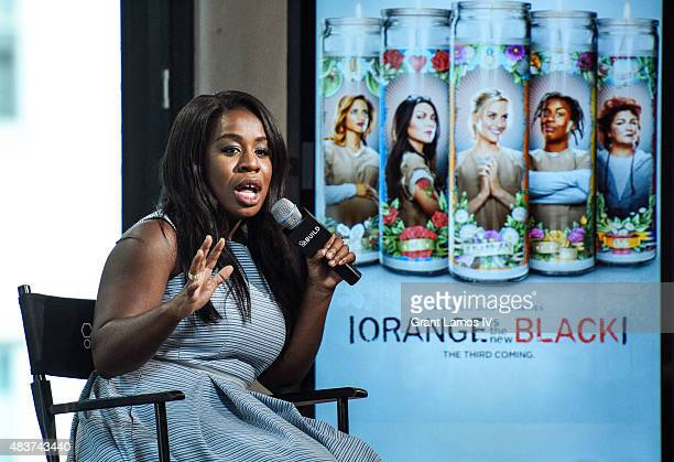 Uzo Abuda attends the AOL Build Presents 'Orange Is The New Black' at AOL Studios in New York on August 12 2015 in New York City