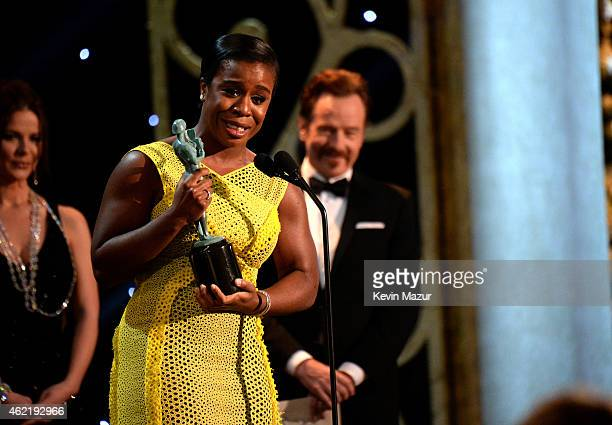 Uzo Aduba accepts award onstage at TNT's 21st Annual Screen Actors Guild Awards at The Shrine Auditorium on January 25, 2015 in Los Angeles,...