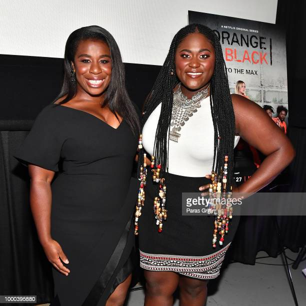 Actress Uzo Aduba actress Danielle Brooks and radio/television personality Headkrack speak onstage during 'Orange Is the New Black' 6th season...