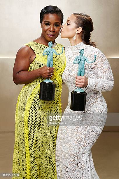 Uzo Aduba and Dascha Polanco pose during TNT's 21st Annual Screen Actors Guild Awards at The Shrine Auditorium on January 25, 2015 in Los Angeles,...