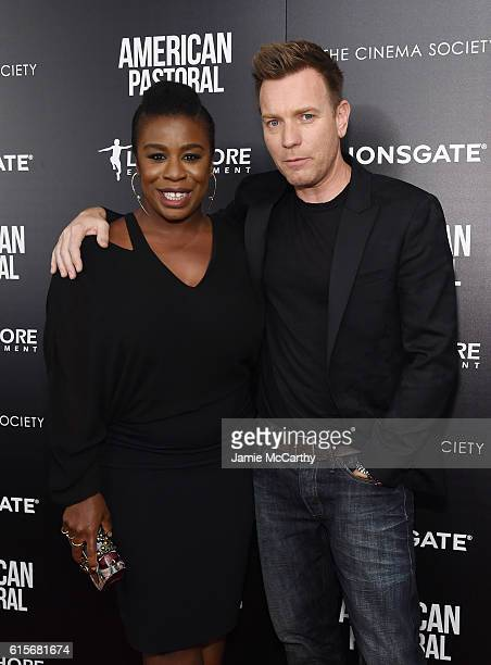 Uzo Aduba and Ewan McGregor attend a screening of American Pastoral hosted by Lionsgate Lakeshore Entertainment and Bloomberg Pursuits at Museum of...