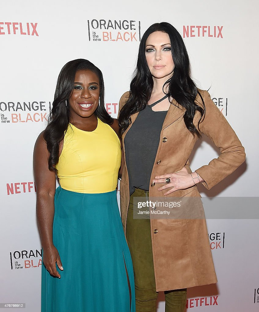 Uzo Aduba and Laura Prepon attend the 'Orangecon' Fan Event at Skylight Clarkson SQ. on June 11, 2015 in New York City.