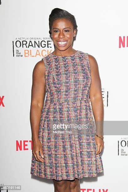 Uzo Aduba arrives at the Los Angeles Screening of 'Orange Is The New Black' held at DGA Theater on August 4 2014 in Los Angeles California