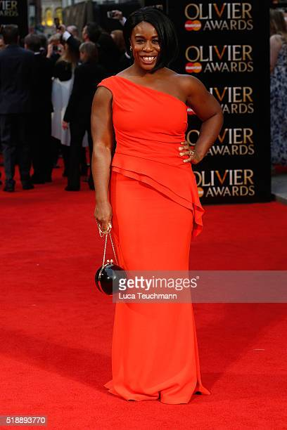 Uzo Aduba attends The Olivier Awards with Mastercard at The Royal Opera House on April 3 2016 in London England
