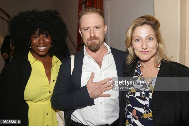 Uzo Aduba Ben Foster and Edie Falco pose backstage at the New York debut of the hit show 'Letters Live' at Town Hall on May 19 2018 in New York City