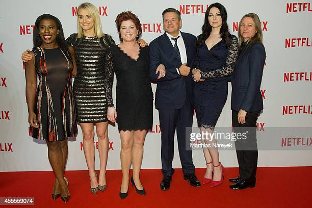 Uzo Aduba Taylor Schilling Kate Mulgrew Ted Sarandos Laura Prepon and guest attend the Netflix pre launch party at Komische Oper on September 16 2014...