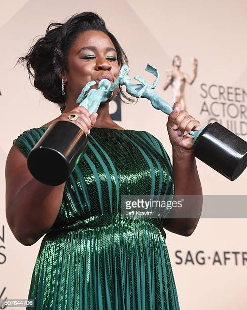 Uzo Aduba winner of the Outstanding Performance by a Female Actor in a Comedy Series Award poses in the press room during the 22nd Annual Screen...