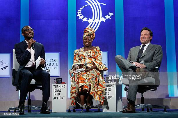 Uzodinma Iweala Chouchou Namegabe and Ben Affleck speak during the 2016 Clinton Global Initiative Annual Meeting at Sheraton New York Times Square on...