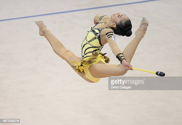 Uzume Kawasaki of Japan competes during the 34th Rhythmic Gymastics World Championships on September 10 2015 in Stuttgart Germany