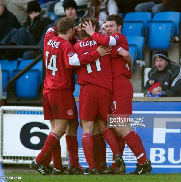 V ABERDEEN .RUGBY PARK - KILMARNOCK .The Aberdeen players swarm around goalscorer Kevin McNaughton after the defender notched the only goal of the...