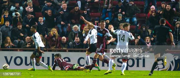V ABERDEEN.TYNECASTLE - EDINBURGH.Callum Paterson goes to ground as referee Kevin Clancy points to the spot for a penalty to Hearts