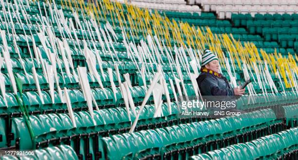 V BARCELONA .CELTIC PARK - GLASGOW.One Celtic fan arrives early to get comfy for his side's biggest game of the season so far