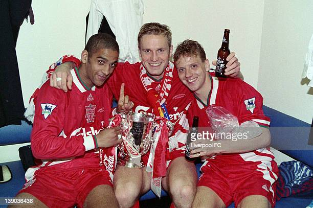 LFC v Bolton Wanderers in the Coca Cola cup final at Wembley won by the Reds 31 Phil Babb John Scales and Rob Jones celebrate in the dressing room...