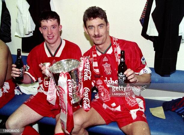 LFC v Bolton Wanderers in the COcacola cup final at Wembley won 21 Robbie Fowler and Ian Rush with beers and the Cocacola cup in the dressing room on...