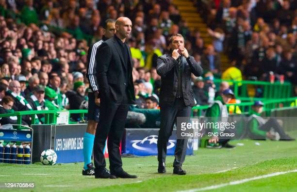 V BORUSSIA MONCHENGLADBACH.CELTIC PARK - GLASGOW .Borussia Monchengladbach manager Andre Schubert and Celtic manager Brendan Rodgers
