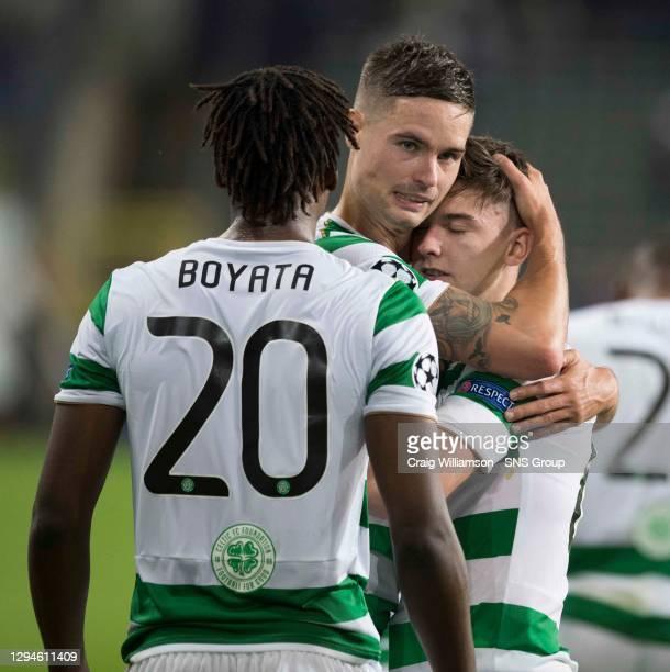 V CELTIC .ANDERLECHT - BELGIUM.Celtic's Dedryck Boyata, Mikael Lustig and Kieran Tierney at full time