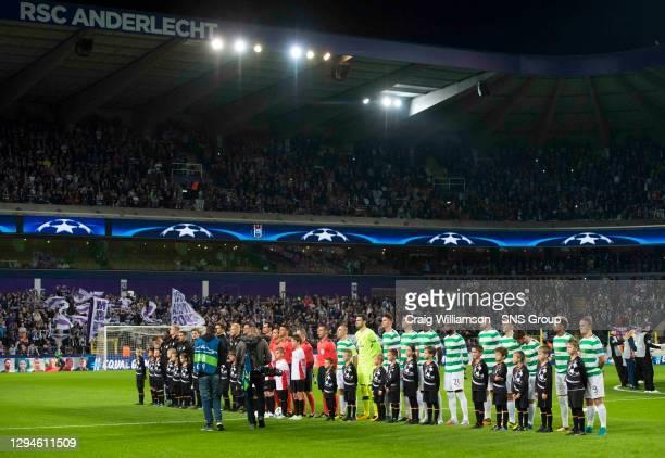 V CELTIC .ANDERLECHT - BELGIUM.The teams line up pre-match