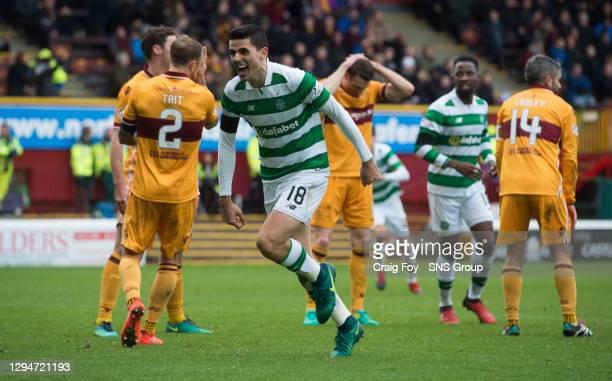V CELTIC .FIR PARK - MOTHERWELL .Celtic's Tom Rogic celebrates his goal