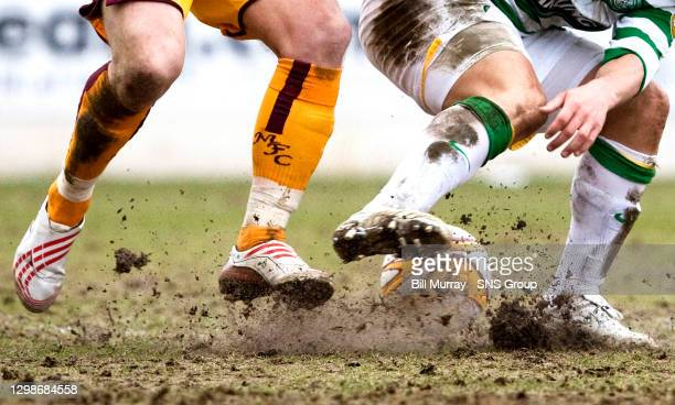 V CELTIC .FIR PARK - MOTHERWELL .Motherwell's pitch gets cut up badly during the game