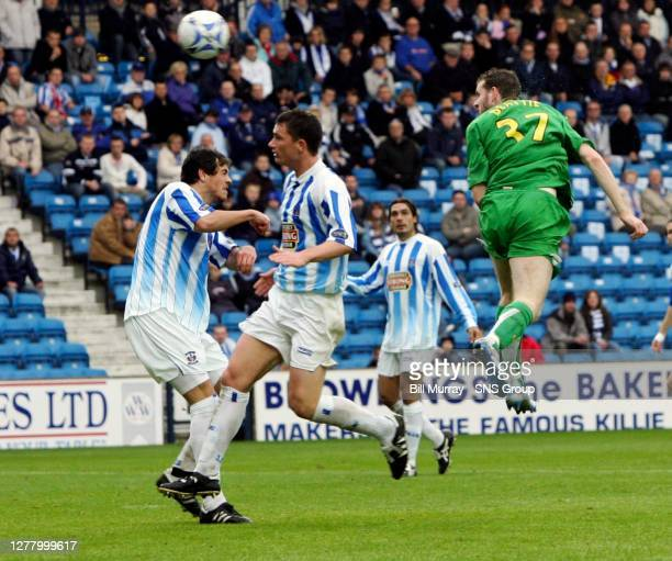 V CELTIC .RUGBY PARK - KILMARNOCK .Celtic's Craig Beattie is extremely unlucky as he sees his header hit the post