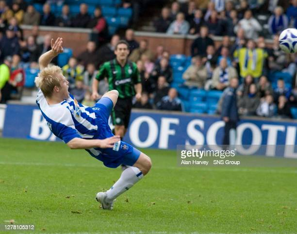 V CELTIC .RUGBY PARK - KILMARNOCK .Kilmarnock's Steven Naismith is unlucky not to score as he sees his effort rebound off the crossbar