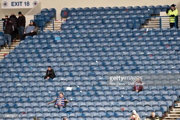 V CELTIC.IBROX STADIUM - GLASGOW.Rangers fans in an emptying stadium at full time