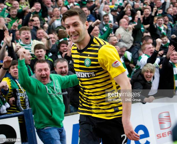 V CELTIC.RUGBY PARK - KILMARNOCK.Charlie Mulgrew celebrates heading Celtic, needing only a point to secure the title, in front