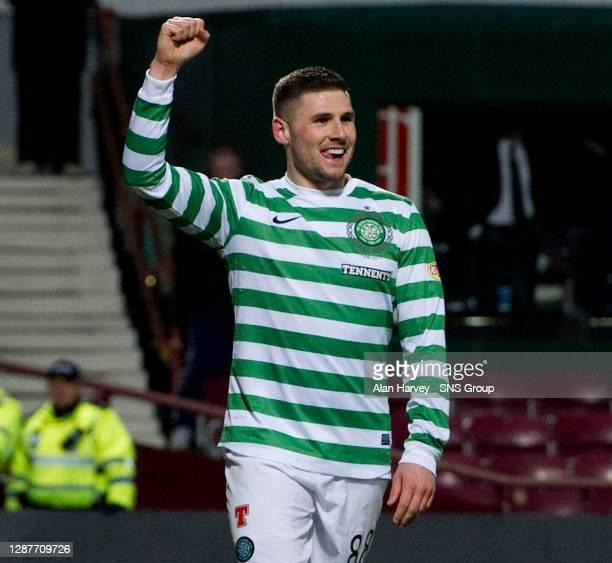 V CELTIC.TYNECASTLE - EDINBURGH.All smiles from striker Gary Hooper as he celebrates bagging Celtic's fourth goal of the game