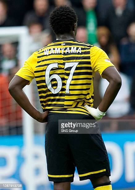 V CELTIC.TYNECASTLE - EDINBURGH.Celtic ace Victor Wanyama sports the wrong spelling of his surname on his shirt