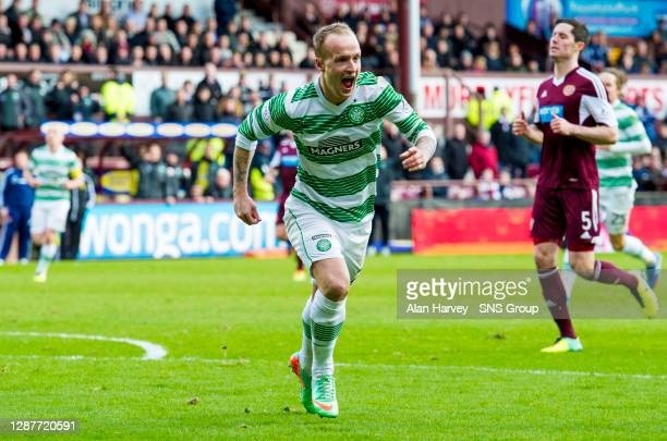 V CELTIC.TYNECASTLE - EDINBURGH.Celtic hitman Leigh Griffiths charges off to celebrate his opening strike