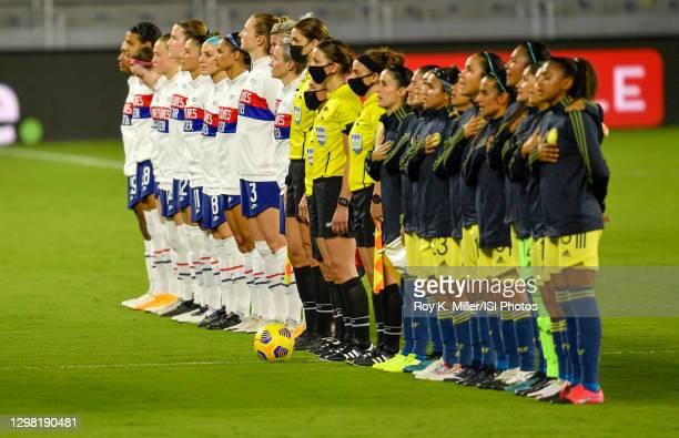 V Colombia starting lineups at Exploria stadium on January 22, 2021 in Orlando City, Florida.