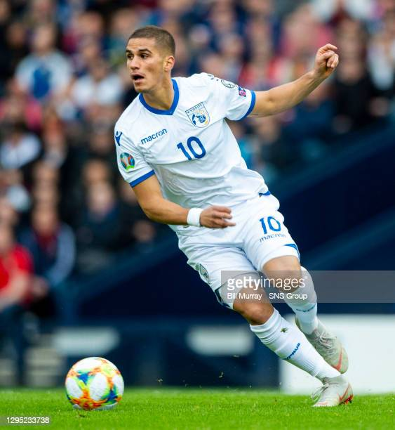 V CYPRUS .HAMPDEN PARK - GLASGOW.Pieros Sotiriou in action for Cyprus