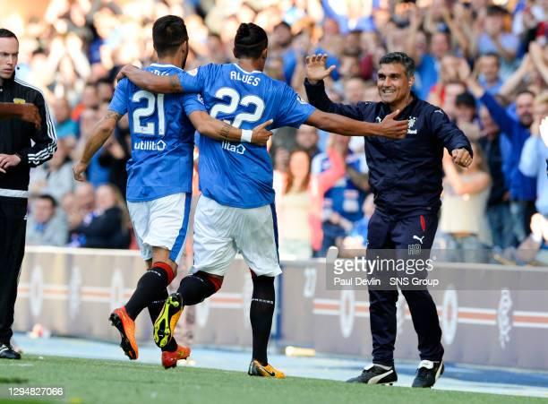 V DUNFERLINE.IBROX - GLASGOW.Rangers' Bruno Alves celebrates his goal with Helder Baptista and Daniel Candeias